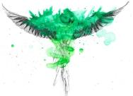 A bright green parrot!