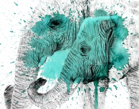 Green Elephants - 11x14 Ink and Watercolour