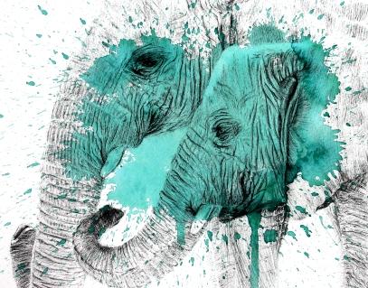 Elephant Splatter Green