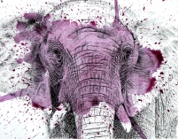 Elephant Splatter Purple