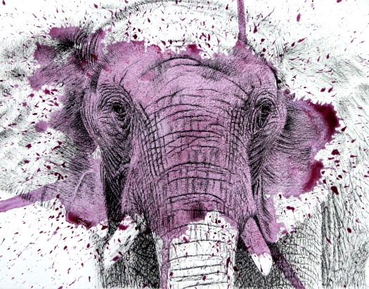 Purple Elephant - 11x14 Ink and Watercolour