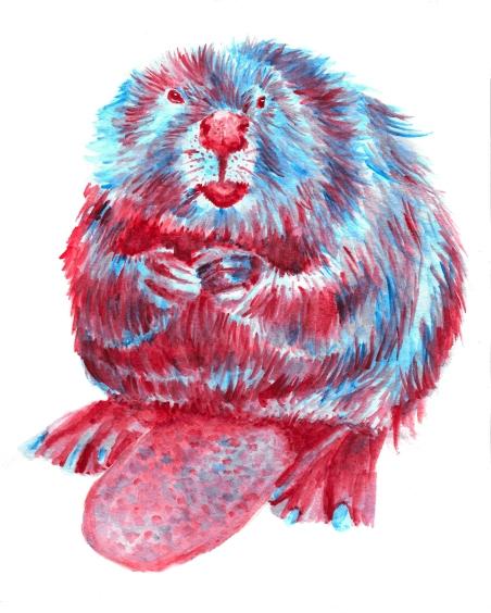 Dualchrome Beaver - 8x10 Watercolour