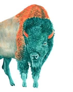 Dualchrome Bison - 8x10 Watercolour