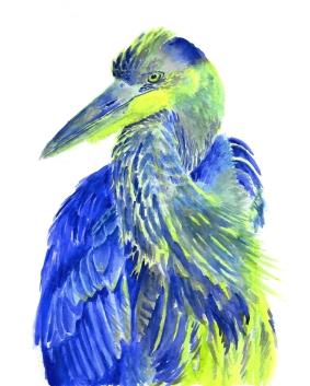 Dualchrome Heron - 8x10 Watercolour