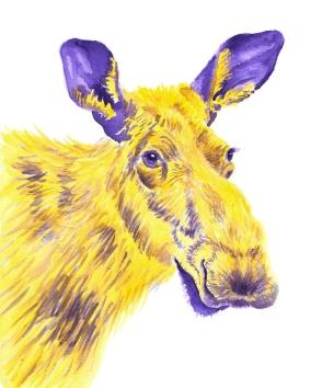 Dualchrome Moose - 8x10 Watercolour